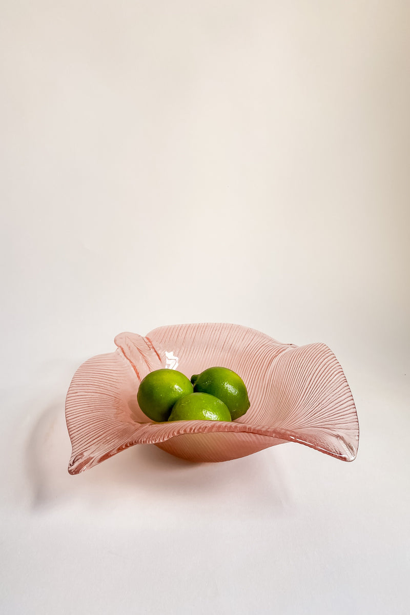 Pink Glass Leaf Bowl
