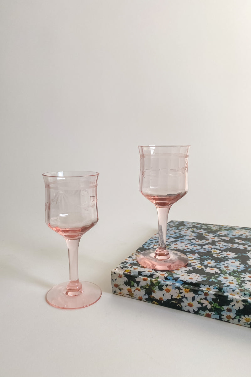 Pale Pink Etched Aperitif Glasses