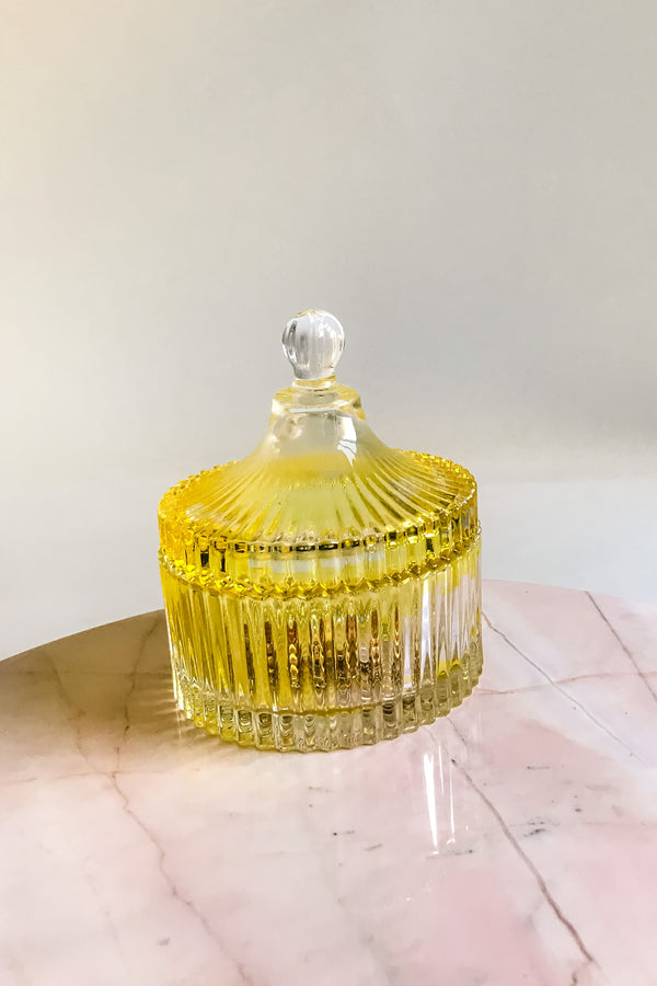 Faceted Yellow Glass Jar