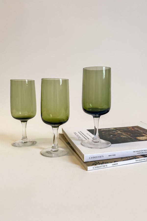 Set of Three Olive Green Goblets