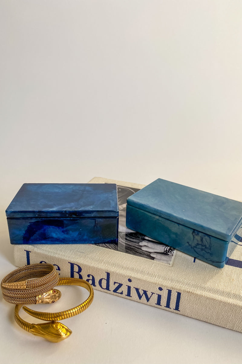 Pastel Blue Alabaster Jewelry Box