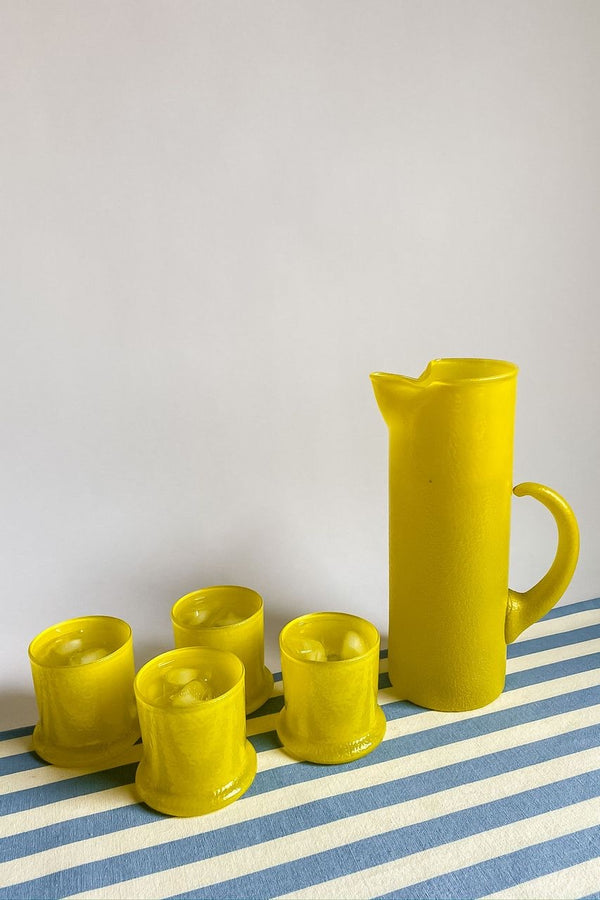Rare Lemon Yellow Glass Pitcher Set