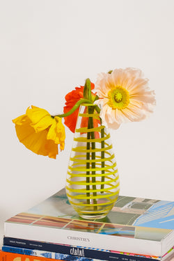 Yellow Spiral Glass Vase