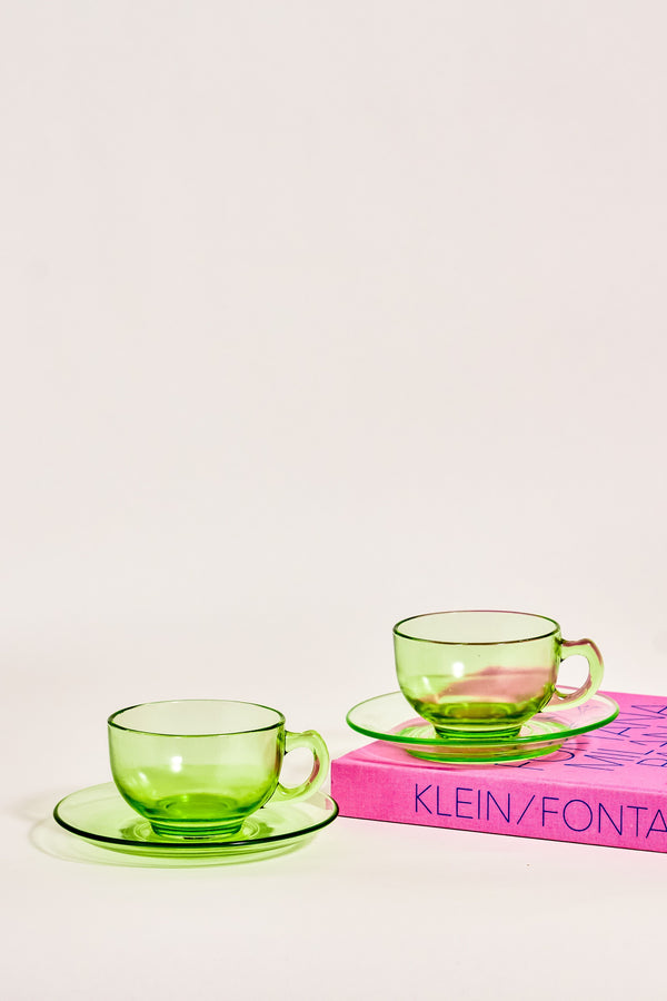 Green Glass Teacup Set of Two
