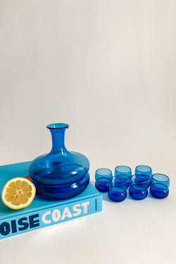Cobalt Decanter and Shot Glasses