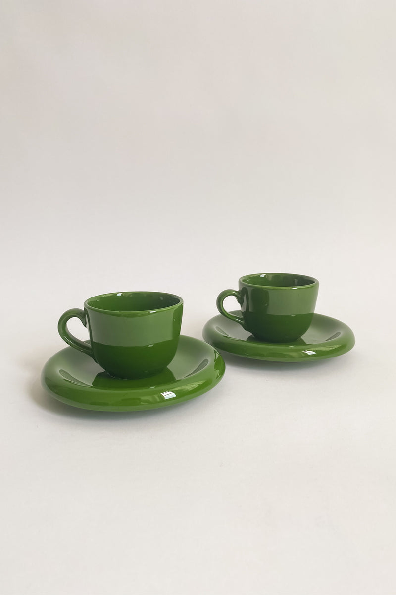 Italian Hunter Green Demitasse Set