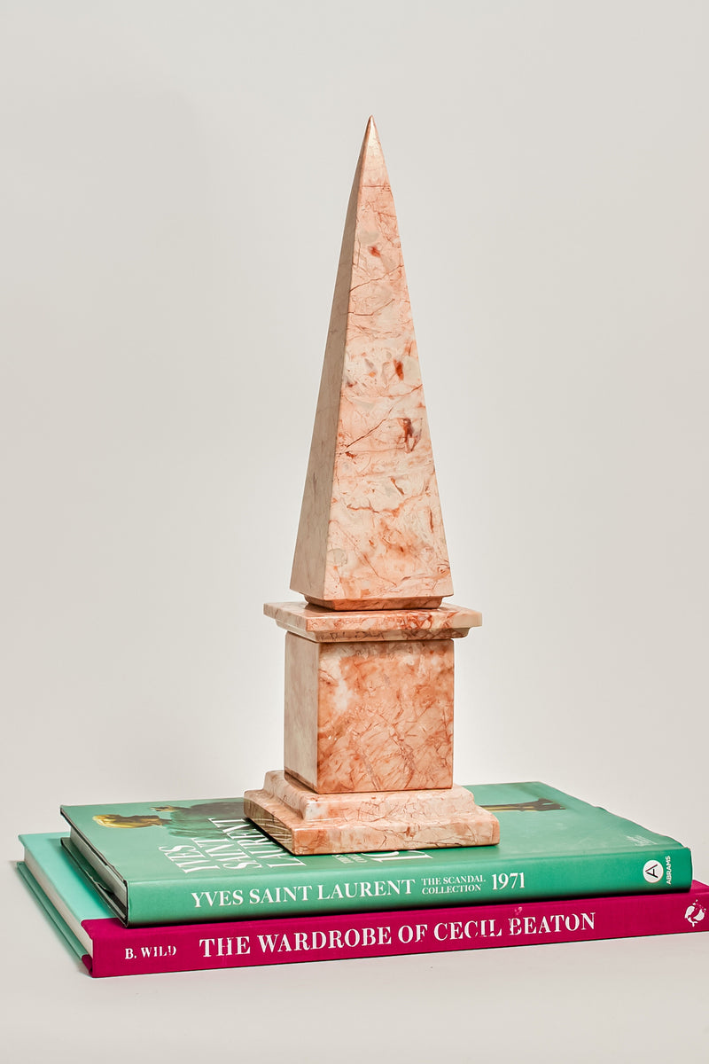 Pink Marble Obelisk on Plinth