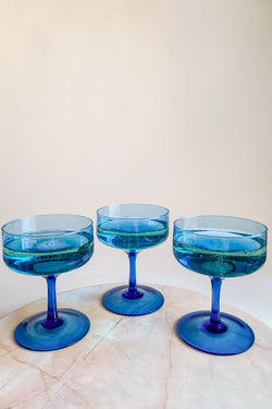 Sapphire Blue Champagne Glass Set