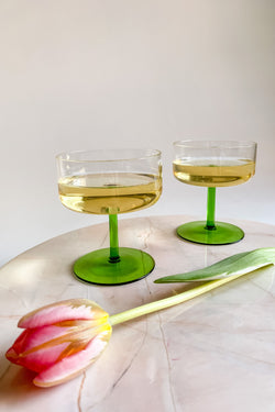Green Stem Cocktail Glasses