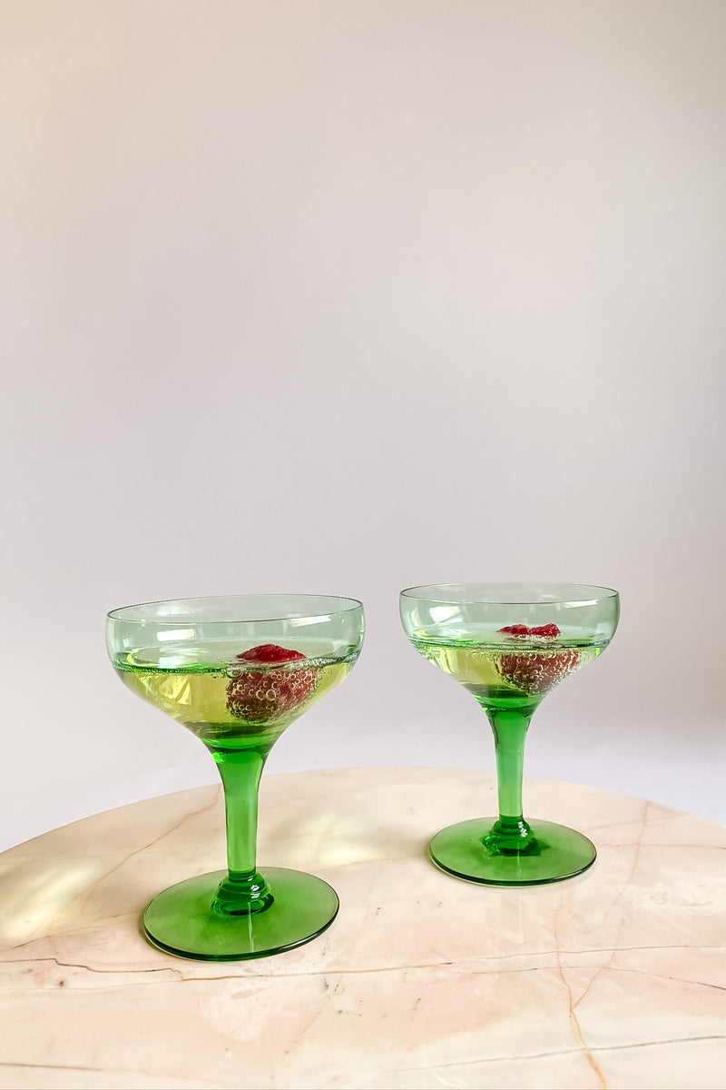 Emerald Champagne Coupe Set