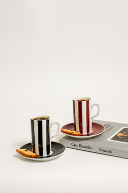Dark Striped Demitasse Set