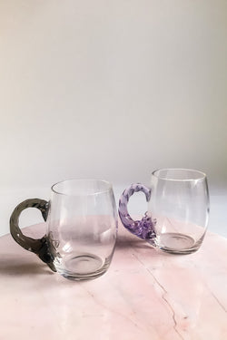 Art Glass Mug Set with Applied Handle