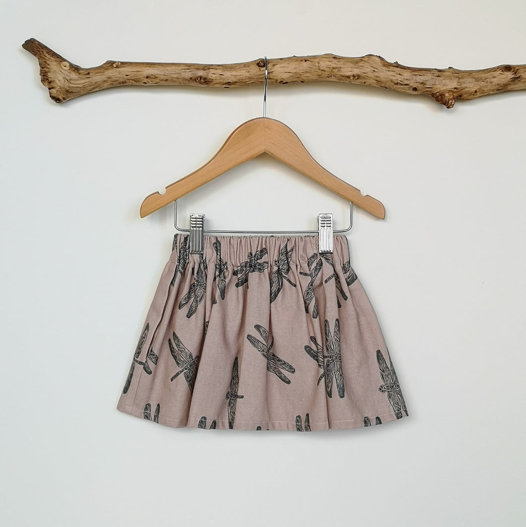 Dragonfly Print Linen Toddler & Children's Skirt