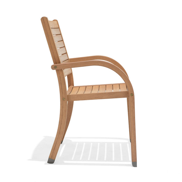 Catalina Stacking Armchair Teak Finish - 4 Piece