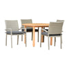 Oldbury Round Table & 4 Liberty Armchair Grey With Grey Cushions - Teak Finish