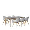 Dian Oval Teak Table & 8 Oberon Grey Chairs With Cushions