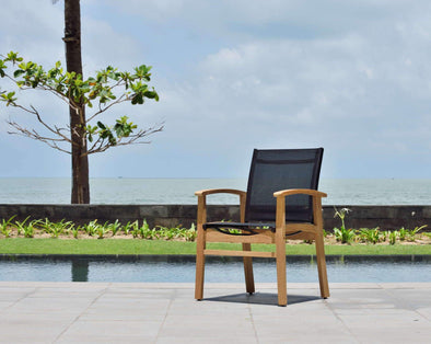 Fortuna Teak Black Armchair - 1 Piece