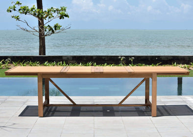 Leyland Extendable Rectangular Table - Teak Finish
