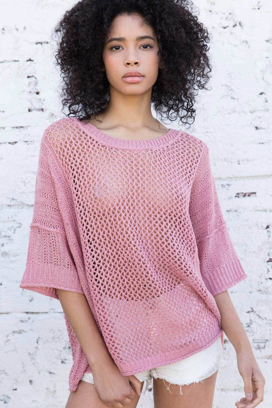 Open Weave Boxy Fit Top