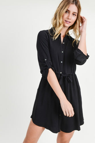 TWILL SHIRT DRESS WITH TIE WAIST DETAIL