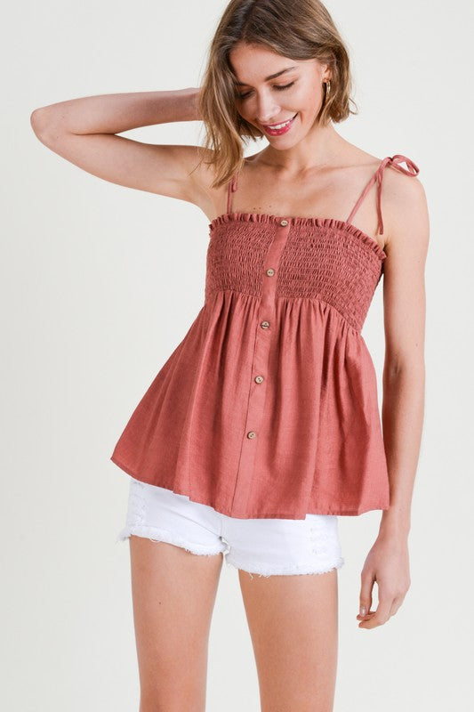 SMOKED BODICE BUTTON DOWN TANK W/ TIE SHOULDER