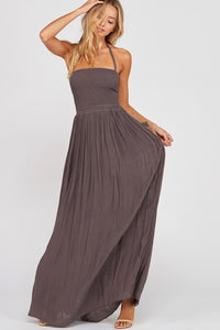 SMOCKED HALTER CROSS STRAP BACK MAXI DRESS