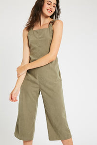 TEXTURED FRONT TIE CROP JUMPSUIT