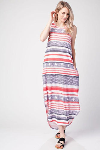 AMERICAN STRIPE PLEATED BACK ROUND HEM POCKET DRESS