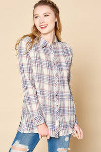Plaid Button Down Shirt with Velvet Burn Out
