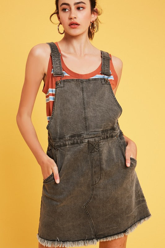GARMENT WASHED DENIM OVERALL DRESS