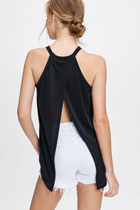 Split Back Sleeveless Solid Knit Top
