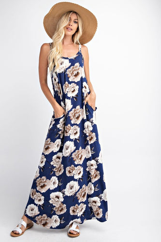 Sleeveless Floral Maxi Dress With Side Pockets