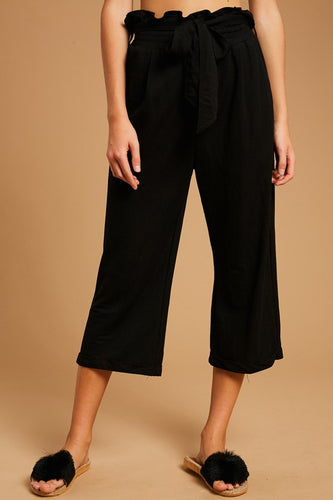 PAPER BAG WAIST TEXTURED CROP PANTS