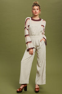 TEXTURED SQUARE NECK OVERALL JUMPSUIT