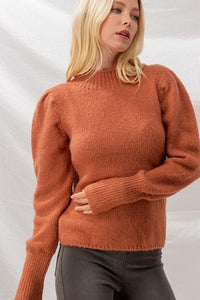 PUFF PLEATED SHOULDER LONG CUFF MOCK NECK SWEATER