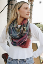 Load image into Gallery viewer, Plaid Frayed Infinity Scarf