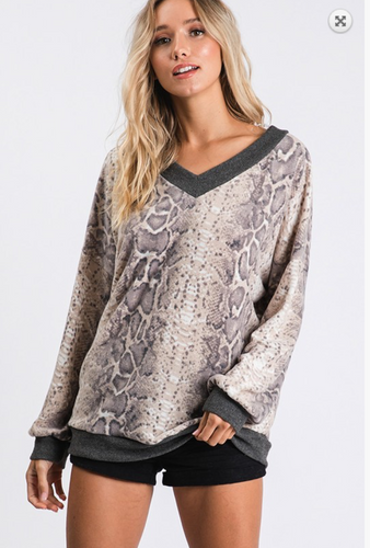 Animal Print V-neck Long Sleeves Top