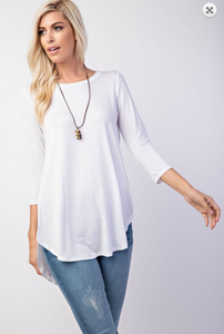 Basic Round Neck Knit 3/4 Sleeve Top