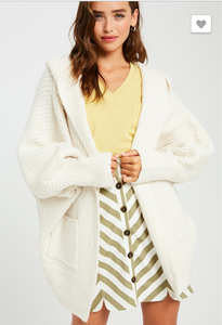 RIBBED TEXTURED HOODIE DOLAM SLEEVES OPEN CARDIGAN