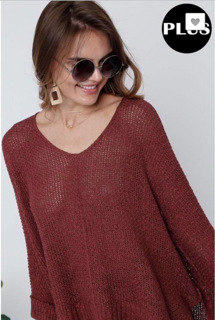 LOOSE FIT AND ROUND NECK BASIC KNITTED SWEATER