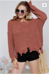 Solid Vintage style Knit Long Sleeve Sweater Top