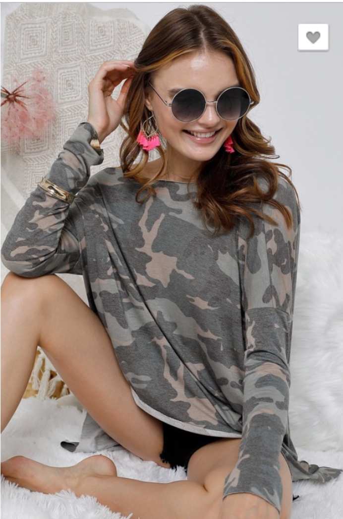 WASHED CAMOUFLAGE PRINT RAW HEM TOP