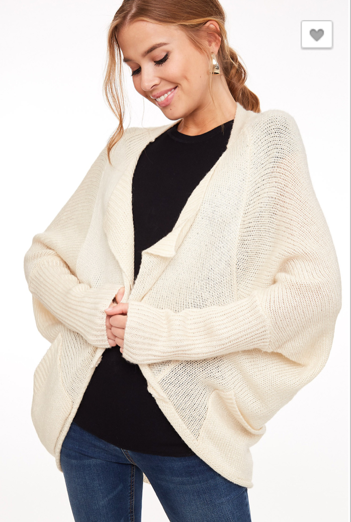 Draped Collar Dolman Cardigan Sweater Jacket