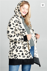 Hooded Leopard Printed Knit Cardigan