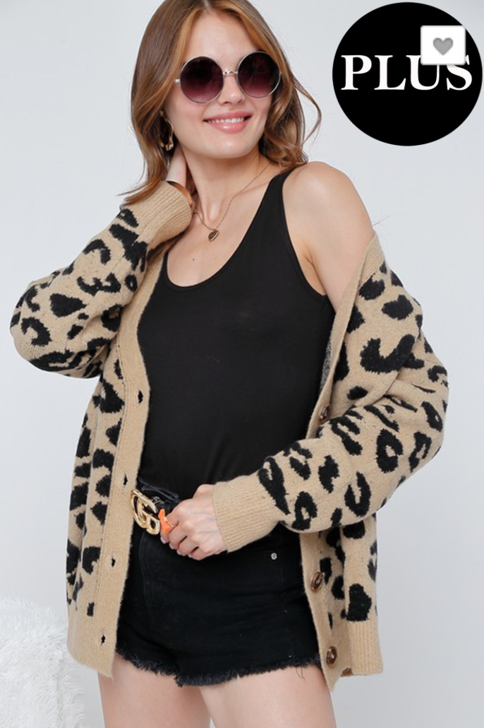 Leopard Printed Cardigan Knit Top