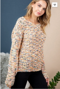 TWISTED BACK PRINTED KNIT SWEATER TOP