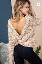 Load image into Gallery viewer, TWISTED BACK PRINTED KNIT SWEATER TOP