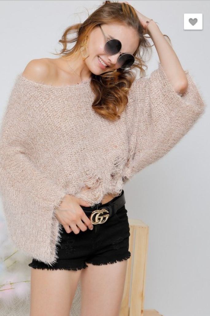 SOLID COLOR WAVY BOTTOM KNIT SWEATER