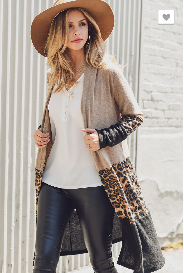 CONTRAST CASHMERE BRUSHED KNIT CARDIGAN