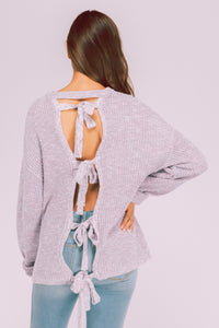 Back Tie Crop Sweater